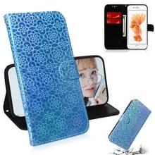 Voor iPhone 6 & 6s effen kleur kleurrijke magnetische Buckle horizontale Flip PU lederen draagtas met houder & kaartsleuven & portemonnee & Lanyard (blauw)