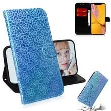 Voor iPhone XR effen kleur kleurrijke magnetische Buckle horizontale Flip PU lederen draagtas met houder & kaartsleuven & portemonnee & Lanyard (blauw)