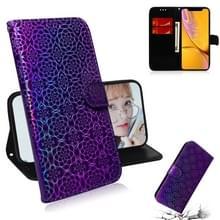 Voor iPhone XR effen kleur kleurrijke magnetische Buckle horizontale Flip PU lederen draagtas met houder & kaartsleuven & portemonnee & Lanyard (paars)