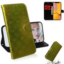 Voor iPhone XR effen kleur kleurrijke magnetische Buckle horizontale Flip PU lederen draagtas met houder & kaartsleuven & portemonnee & Lanyard (goud)