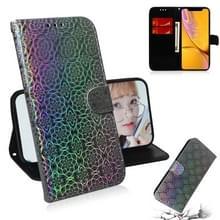 Voor iPhone XR effen kleur kleurrijke magnetische Buckle horizontale Flip PU lederen draagtas met houder & kaartsleuven & portemonnee & Lanyard (zilver)