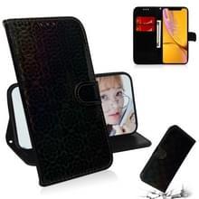 Voor iPhone XR effen kleur kleurrijke magnetische Buckle horizontale Flip PU lederen draagtas met houder & kaartsleuven & portemonnee & Lanyard (zwart)