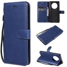 Voor Huawei Mate 40 Solid Color Horizontale Flip Beschermende lederen hoes met houder & kaartslots & portemonnee & fotolijst & lanyard(blauw)