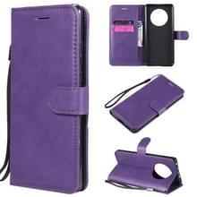 Voor Huawei Mate 40 Solid Color Horizontale Flip Beschermende lederen hoes met houder & kaartslots & portemonnee & fotolijst & lanyard(paars)