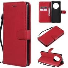 Voor Huawei Mate 40 Solid Color Horizontale Flip Beschermende lederen hoes met houder & kaartslots & portemonnee & fotolijst & lanyard(rood)