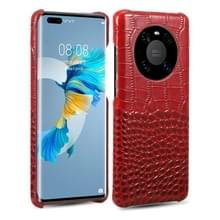 Voor Huawei Mate 40 Head-layer Cowhide Leather Crocodile Texture Protective Case (Rood)