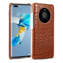 Voor Huawei Mate 40 Head-layer Cowhide Leather Crocodile Texture Protective Case (Bruin)