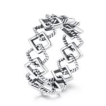 S925 Sterling Silver Simple Hollow Rhombus Vrouwen Ring  Grootte:6
