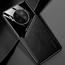 Voor Huawei Mate 40 All-inclusive Leder + Organic Glass Protective Case met metalen ijzeren plaat(zwart)