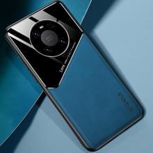 Voor Huawei Mate 40 Pro All-inclusive Leder + Organic Glass Beschermhoes met metalen ijzeren plaat (Royal Blue)