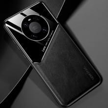 Voor Huawei Mate 40 Pro All-inclusive Leder + Organic Glass Protective Case met metalen ijzeren plaat(zwart)