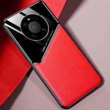 Voor Huawei Mate 40 Pro All-inclusive Leder + Organic Glass Beschermhoes met metalen ijzeren plaat(rood)