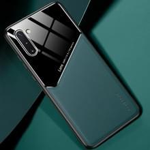 Voor Samsung Galaxy Note10 All-inclusive Leder + Organic Glass Beschermhoes met metalen ijzeren plaat(groen)