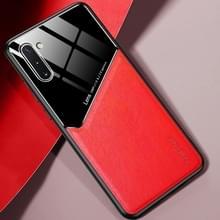 Voor Samsung Galaxy Note10 All-inclusive Leder + Organic Glass Beschermhoes met metalen ijzeren plaat(rood)