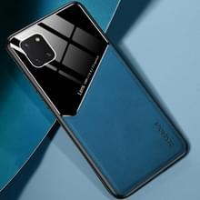 Voor Samsung Galaxy Note 10 Lite All-inclusive Leder + Organische Glazen Beschermhoes met metalen ijzeren plaat (Royal Blue)