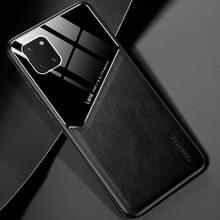 Voor Samsung Galaxy Note 10 Lite All-inclusive Leder + Organische Glazen Beschermhoes met metalen ijzeren vel (zwart)