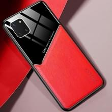 Voor Samsung Galaxy Note 10 Lite All-inclusive Leder + Organische Glazen Beschermhoes met metalen ijzeren plaat (rood)
