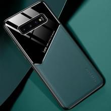 Voor Samsung Galaxy S10 All-inclusive Leder + Organic Glass Beschermhoes met metalen ijzeren plaat(groen)