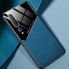 Voor Xiaomi Mi 10 All-inclusive Leder + Organic Glass Protective Case met Metalen Ijzeren Vel (Royal Blue)