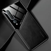 Voor Xiaomi Mi 10 All-inclusive Leder + Organic Glass Protective Case met Metalen Ijzeren Vel (Zwart)