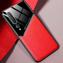 Voor Xiaomi Mi 10 All-inclusive Leder + Organic Glass Protective Case met metalen ijzeren plaat(Rood)