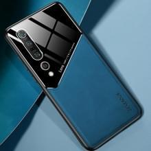 Voor Xiaomi Mi 10 Pro All-inclusive Leder + Organic Glass Protective Case met metalen ijzeren vel (Royal Blue)