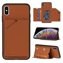 Skin Feel PU + TPU + PC Back Cover Shockproof Case met Card Slots & Holder & Photo Frame Voor iPhone X / XS(Brown)