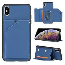 Skin Feel PU + TPU + PC Back Cover Shockproof Case met Card Slots & Holder & Photo Frame Voor iPhone X / XS(Royal Blue)