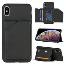 Skin Feel PU + TPU + PC Back Cover Shockproof Case met Kaartslots & Houder & Photo Frame Voor iPhone X / XS(Zwart)