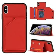 Skin Feel PU + TPU + PC Back Cover Shockproof Case met Kaartslots & Houder & Photo Frame Voor iPhone X / XS(Rood)