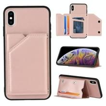 Skin Feel PU + TPU + PC Back Cover Shockproof Case met Kaartslots & Houder & Fotolijst voor iPhone X / XS(Rose Gold)
