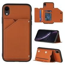 Skin Feel PU + TPU + PC Back Cover Shockproof Case met Kaartslots & Houder & Photo Frame Voor iPhone XR(Bruin)