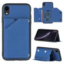 Skin Feel PU + TPU + PC Back Cover Shockproof Case met Kaartslots & Houder & Fotolijst Voor iPhone XR(Royal Blue)