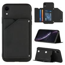 Skin Feel PU + TPU + PC Back Cover Shockproof Case met Kaartslots & Houder & Photo Frame Voor iPhone XR(Zwart)