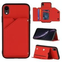 Skin Feel PU + TPU + PC Back Cover Shockproof Case met Kaartslots & Fotolijst Voor iPhone XR(Rood)