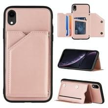 Skin Feel PU + TPU + PC Back Cover Shockproof Case met Kaartslots & Fotolijst voor iPhone XR(Rose Gold)