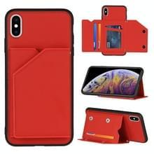 Skin Feel PU + TPU + PC Back Cover Shockproof Case met Kaartslots & Fotolijst voor iPhone XS Max(Rood)