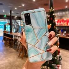 Voor Samsung Galaxy S20 Plus Splicing Marble Pattern Verguld TPU Beschermhoes (Groen)