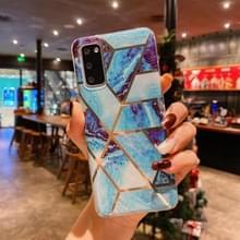 Voor Samsung Galaxy S20 Ultra Splicing Marble Pattern Verguld TPU beschermhoes (blauw)