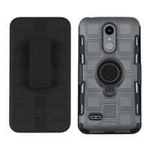 Voor LG K8 (2017) EU-versie 3 in 1 Cube PC + TPU-beschermhoes met 360 graden zwarte ringhouder (grijs)