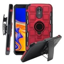 Voor LG Stylo 3 3 In 1 Cube PC + TPU beschermhoes met 360 graden draaien zwarte ringhouder (rood)
