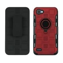 Voor LG Q6 3 In 1 Cube PC + TPU beschermhoes met 360 graden draaien zwarte ringhouder (rood)
