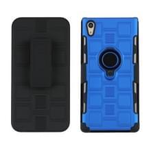 Voor Sony Xperia XA1 Ultra 3 in 1 Cube PC + TPU beschermhoes met 360 graden draaien zwarte ringhouder(blauw)
