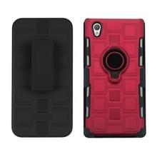 Voor Sony Xperia L1 3 in 1 Cube PC + TPU beschermhoes met 360 graden draaien zwarte ringhouder (rood)