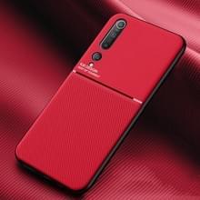 Voor Xiaomi Mi 10 Pro Classic Tilt Strip Grain Magnetic Shockproof PC + TPU Case(Red)