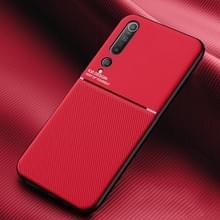 Voor Xiaomi Mi 10 Classic Tilt Strip Grain Magnetic Shockproof PC + TPU Case(Red)