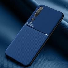Voor Xiaomi Mi 10 Classic Tilt Strip Grain Magnetic Shockproof PC + TPU Case(Blauw)