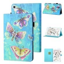 Voor Samsung Galaxy Tab A 8.0 (2019) T290/T295 Gekleurde tekenstiksels Horizontale Flip Lederen kast met houder & kaartsleuf (kleurrijke vlinders)