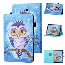Voor Samsung Galaxy Tab A 10.5 T590/T595 Gekleurde tekenstiksels Horizontale Flip Lederen case met Holder & Card Slot & Sleep / Wake-up Functie(Blauwe Uil)