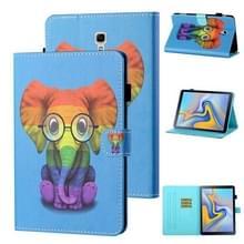 Voor Samsung Galaxy Tab A 10.5 T590/T595 Gekleurde tekening stiksels Horizontale Flip Lederen case met Holder & Card Slot & Sleep / Wake-up Functie(Kleurrijke Olifant)